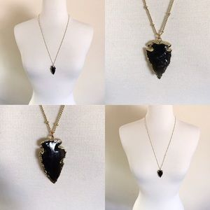 Black Obsidian Onyx Arrowhead 14K Gold Necklace
